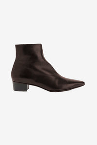 Dark brown ankle boots with low heel