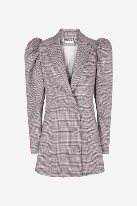 Check blazer with puffy shoulders