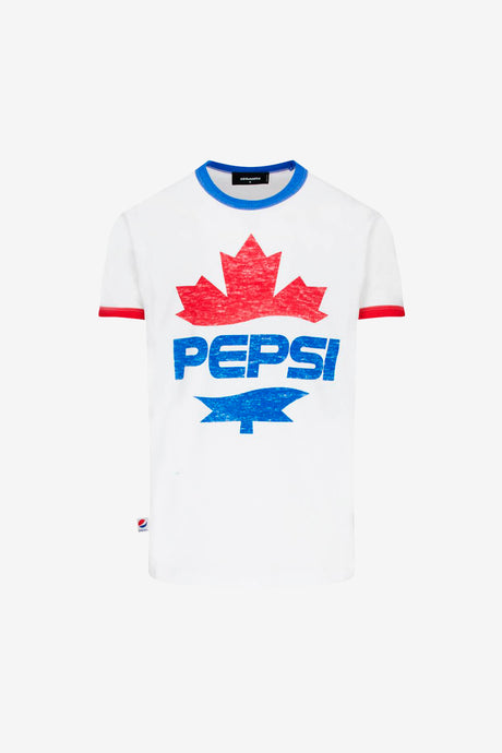 Dsquared2 Pepsi T-shirt in White with red cuffs and blue collar