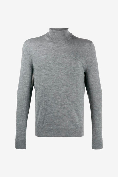 Turtleneck jumper in grey wool in a relaxed fit, and a chest CK embroidered logo in black.