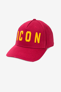 Red cap with worn look, and large ICON logo in yellow.
