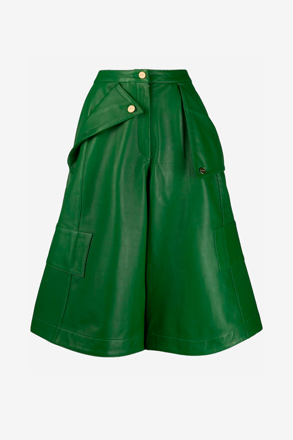 Belize pant in green leather from jacquemus
