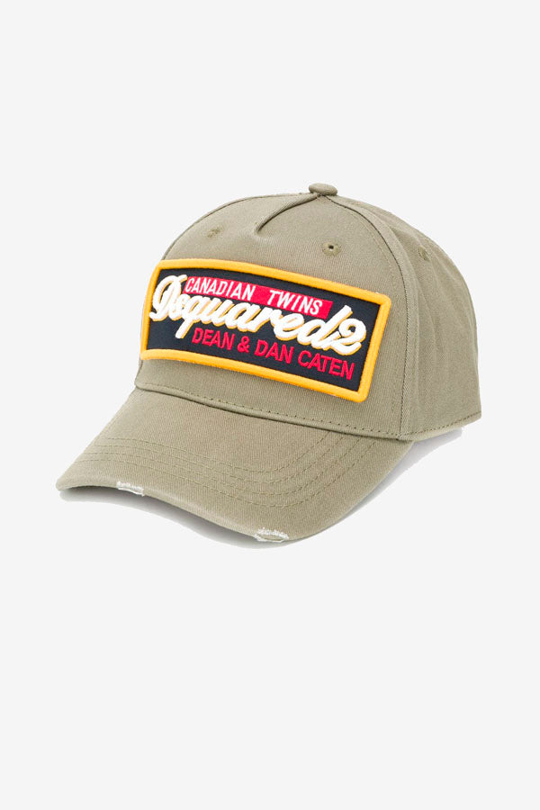 Patch logo Baseball Cap in beige with multicolored patch.