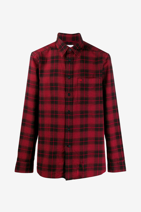 Black and red check shirt, classic collar, button front fastening and a chest patch pocket with CK tonal red embroidering.