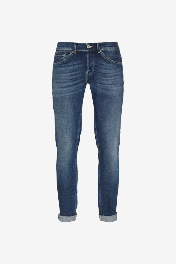Men's classic five pocket jeans in a medium blue stonewash.