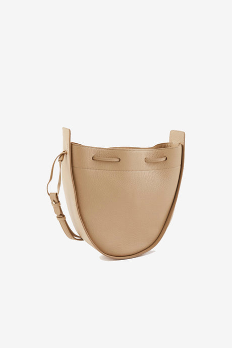 THE ROW Drawstring Pouch in cream smooth leather