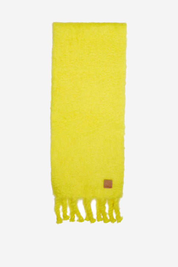 Mohair-blend scarf in yellow