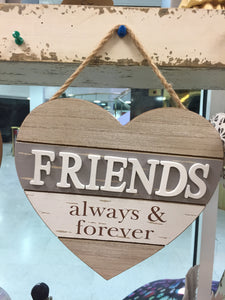 """Friends"" Heart Shaped Hanging Sign"