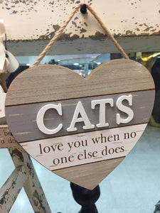 """Cats"" Heart Shaped Hanging Sign"