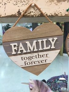 """Family"" Heart Shaped Hanging Sign"