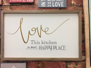 """Love This Kitchen"" Wall Sign Plaque Wall Art"