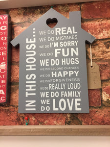 """In This House..."" Wall Sign Plaque Wall Art"