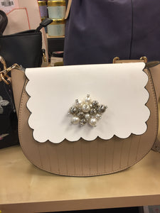 Vintage Neutral Shoulder Bag Studded with Pearls