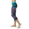 Image of Blue and Red Sugar Skull Capris