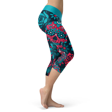 Blue and Red Sugar Skull Capris