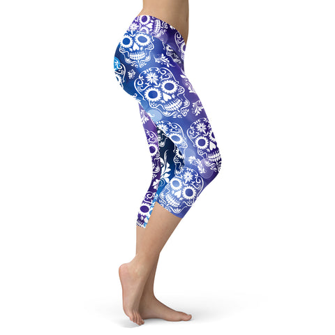 Blue and Purple Sugar Skulls Capris