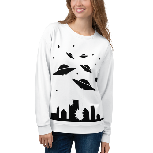 UNISEX WHITE SWEATSHIRT ALIEN ATTACK