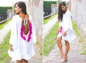 BACKLESS SUMMER BEACH DRESS