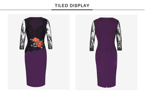 FLORAL EMBROIDERY PENCIL DRESS