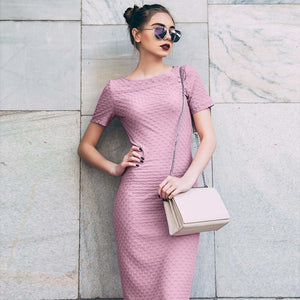 ELEGANT SHORT SLEEVE JACQUARD LONG DRESS