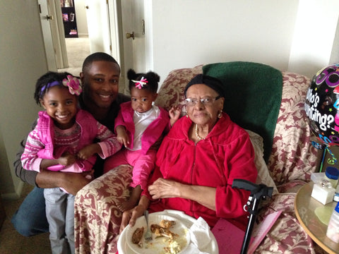 "This is the girls, Joe, and ""Mother"" Lessie Brown (Our Great Grandma) at her 110th or 111th birthday."