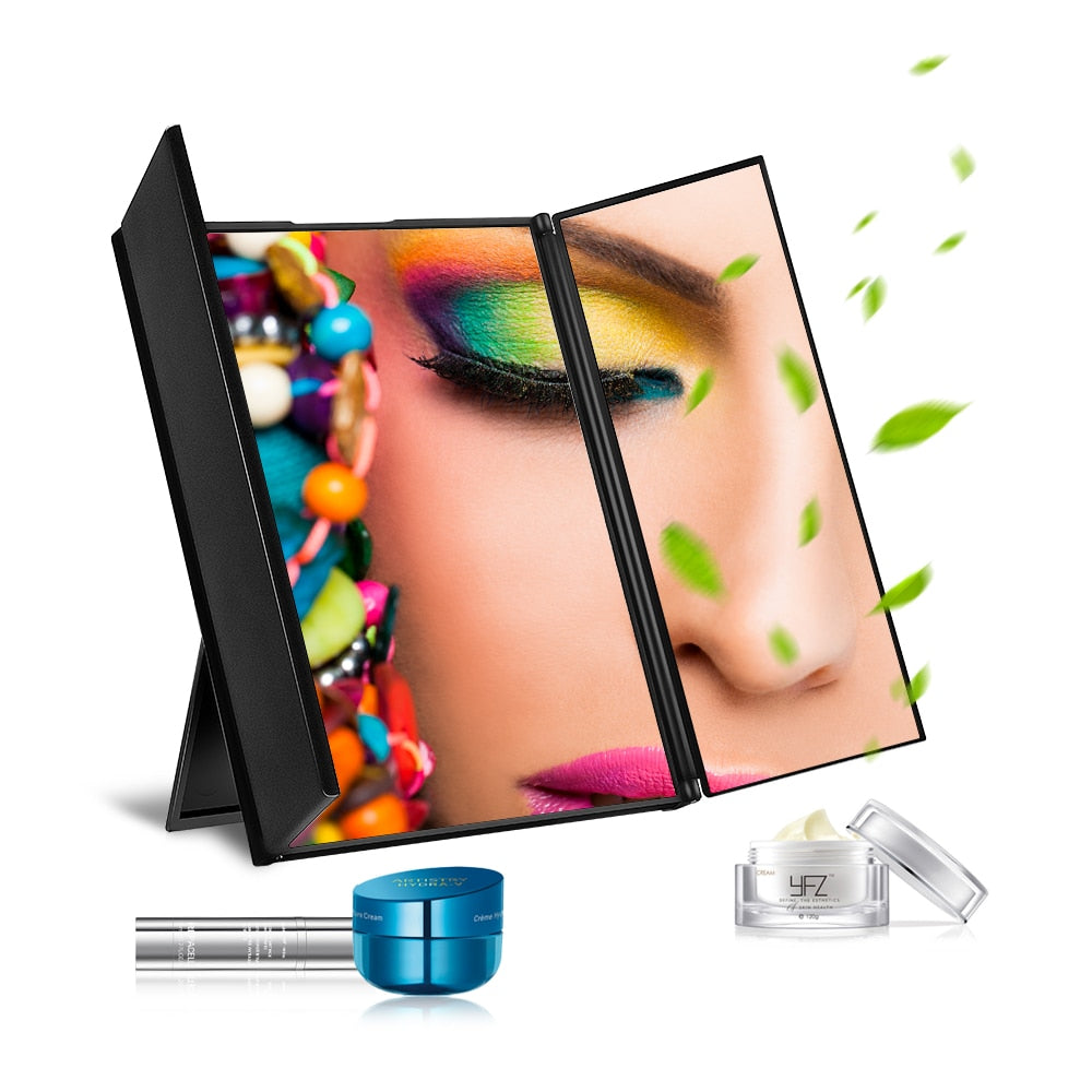 3 Folding Portable Touch Screen New Design 8 LEDs Lighted Makeup Mirror Make-up Adjustable Tabletop Countertop Make Up Mirror