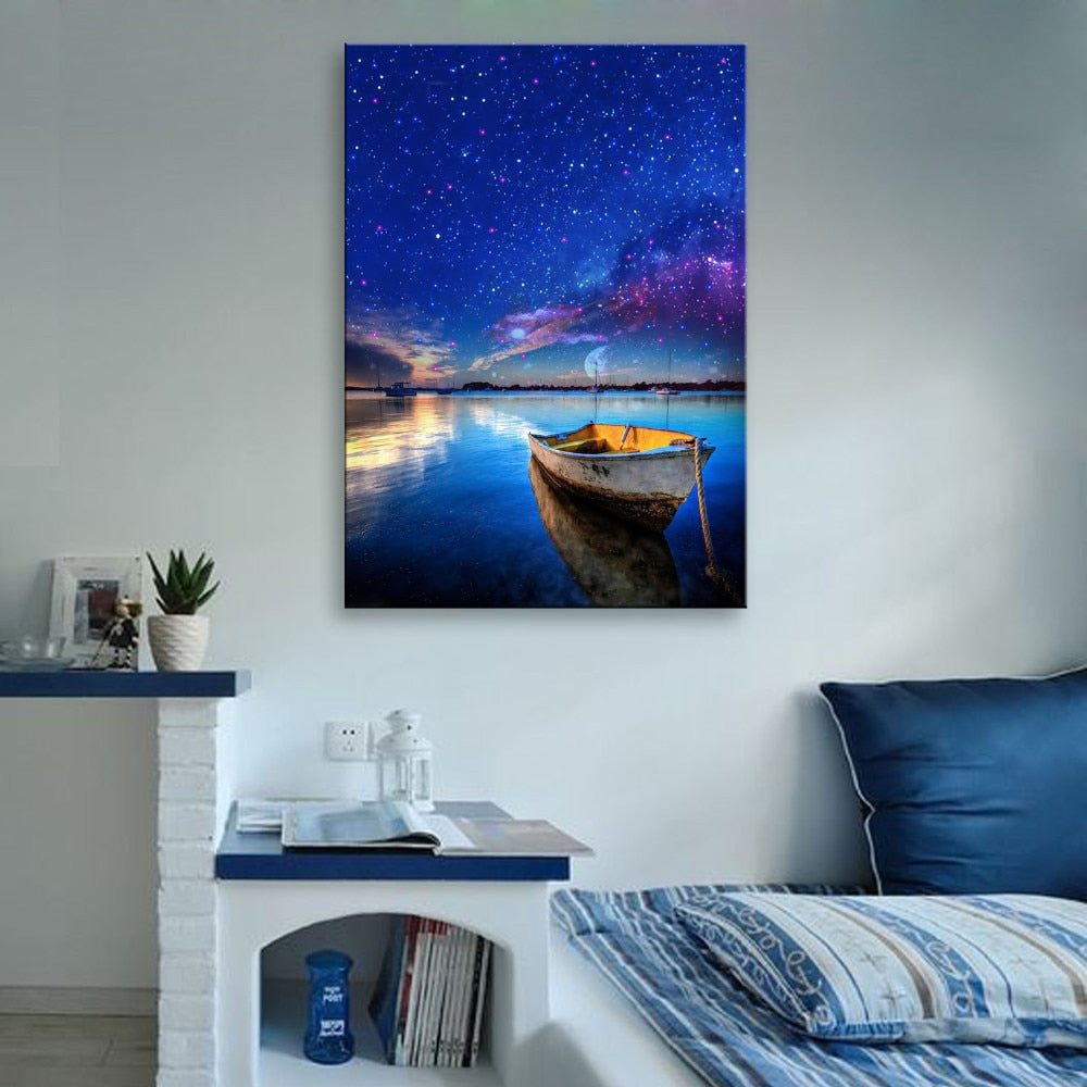 Stretched Canvas Prints White Lotus on The Water LED Interstellar Print  LED Wall Art LED Decorations