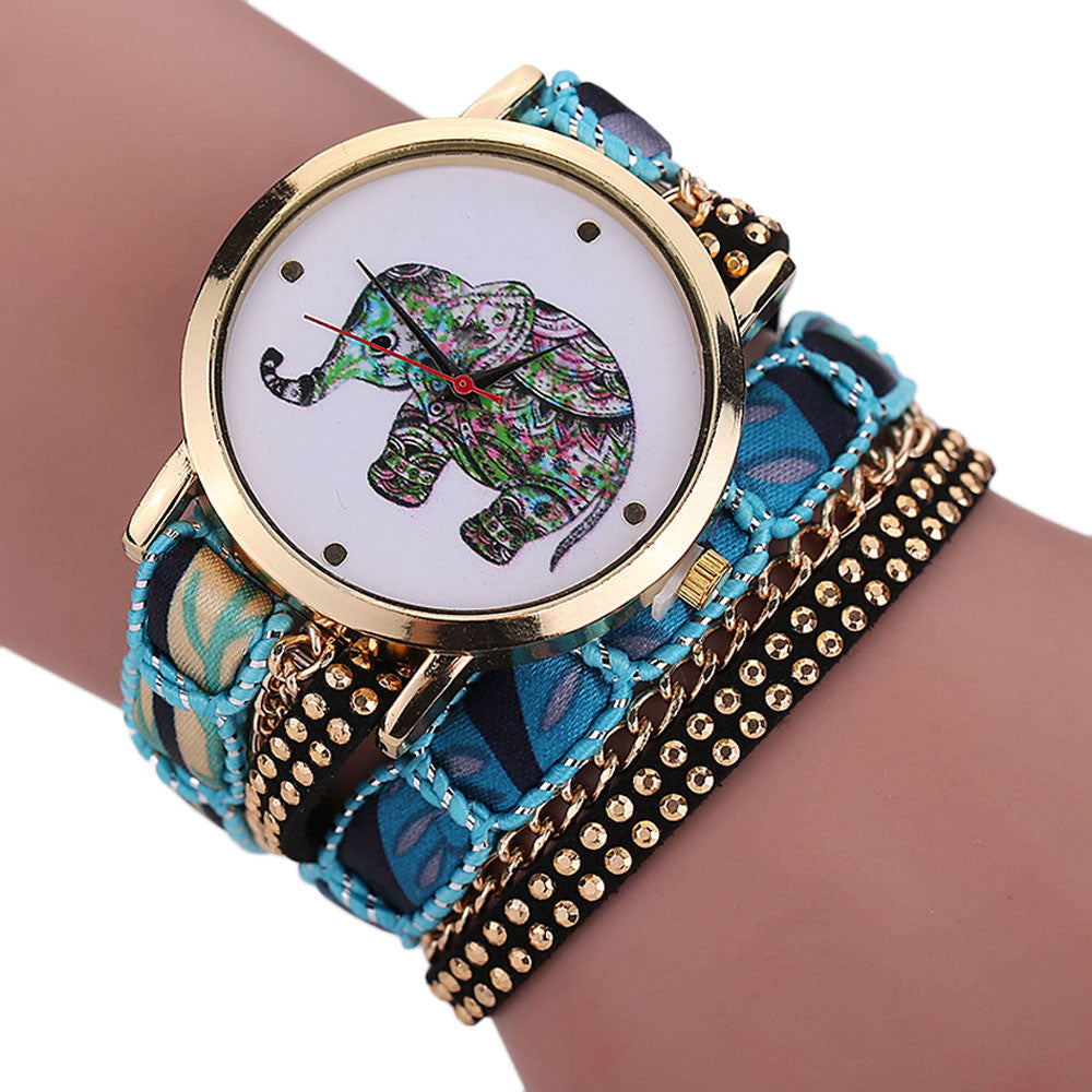 Rhinestone Elephant Quartz Watch Bracelet
