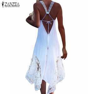 V Neck Sleeveless Dress Lace Crochet Maxi