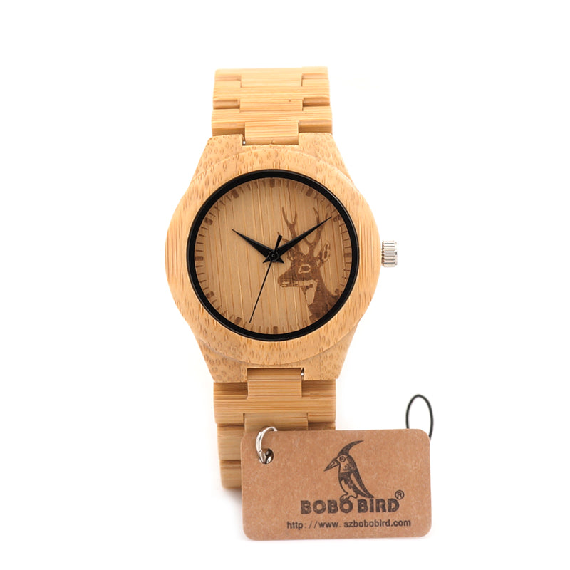 37mm Luxury Brand Handmade Bamboo Watch With Wood Strap