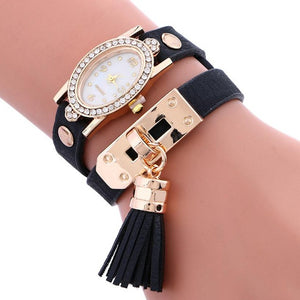 Leather Bracelet Crystal Watch