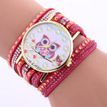 Owl Pattern Chimes Leather Bracelet Watch