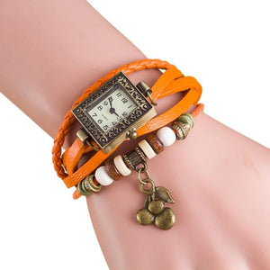 Leather Cherry Bracelet Wrist Watch