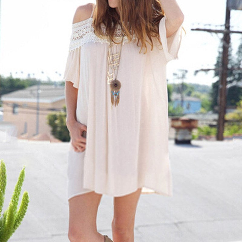 Off Shoulder Lace Patchwork Chiffon Dress