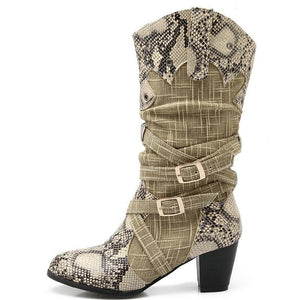 Western Cowboy Boots Snake Print Mid Calf