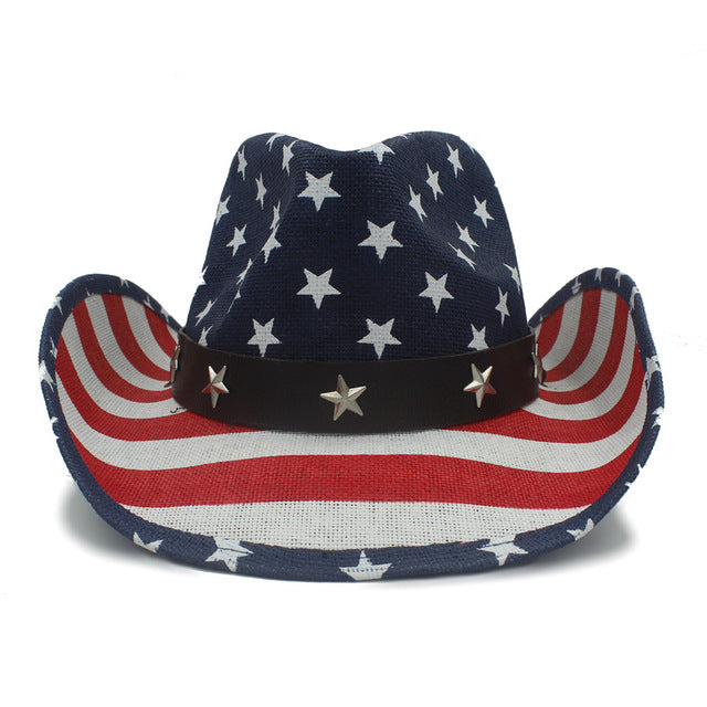 American Flag Straw Hat