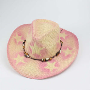 Classic Cattleman Straw Cowboy Hat With Wooden Beads