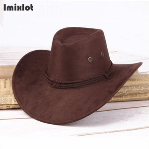 Cowboy Hat Faux Suede Triple Strings