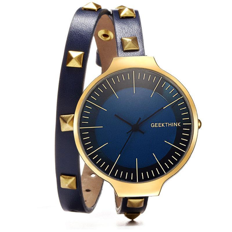 Retro Rivet Leather Bracelet Watch