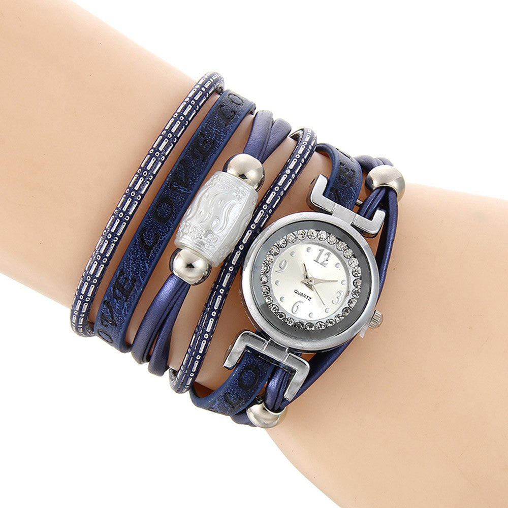 Crystal Watch Braided Leather