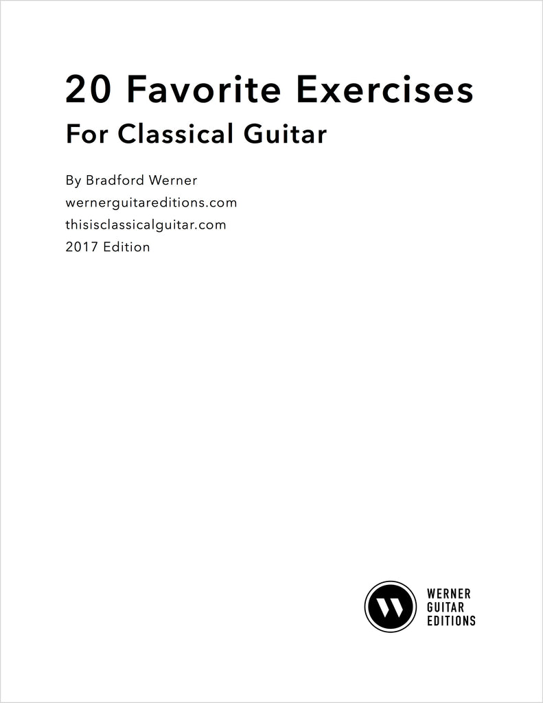 20 Favorite Exercises with Tab for Classical Guitar (PDF) – Werner