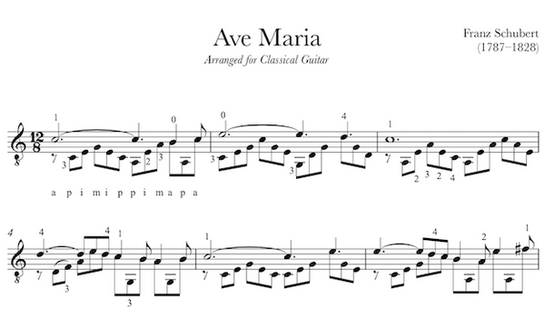 Ave Maria - Sheet Music for Guitar (PDF)