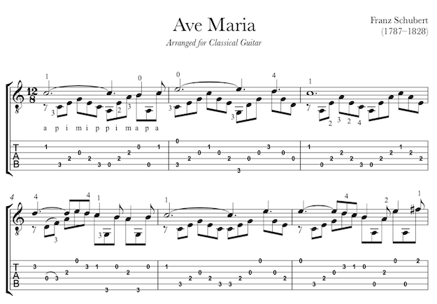 Ave Maria by Schubert for Guitar (PDF)