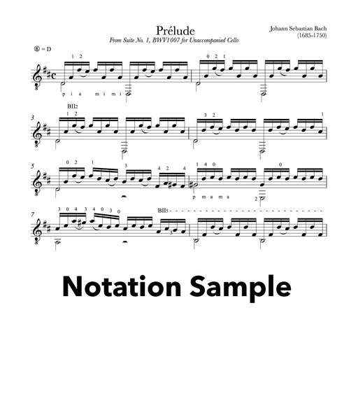 Prelude Cello Suite BWV 1007 for Guitar (Notation Sample))