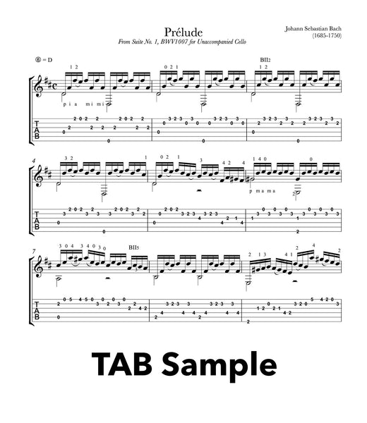 Prelude Cello Suite BWV 1007 for Guitar (TAB Sample))