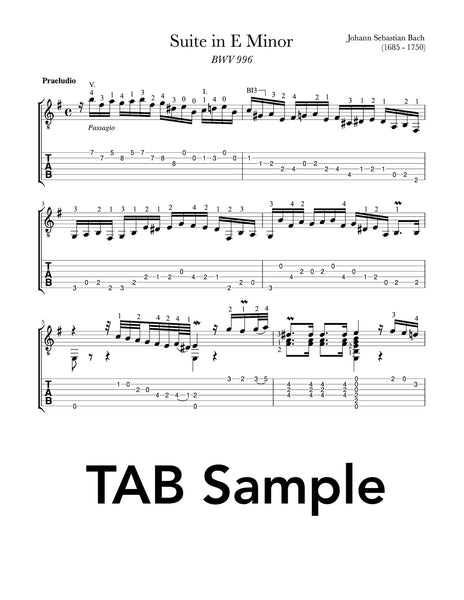 Lute Suite in E Minor BWV 996 by Bach for Classical Guitar (Tab Sample)
