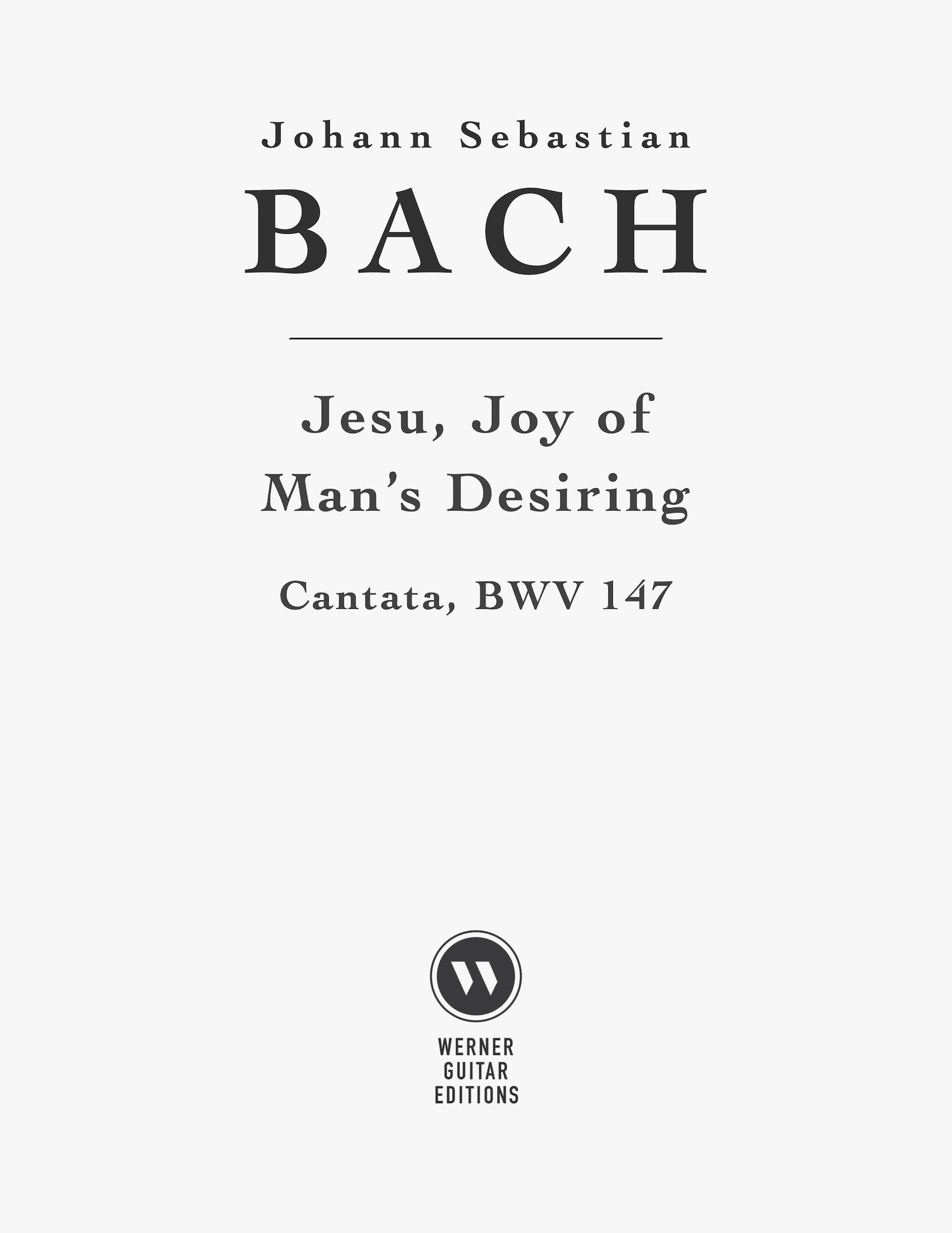 Jesu, Joy of Man's Desiring by Bach for Guitar (Free PDF)