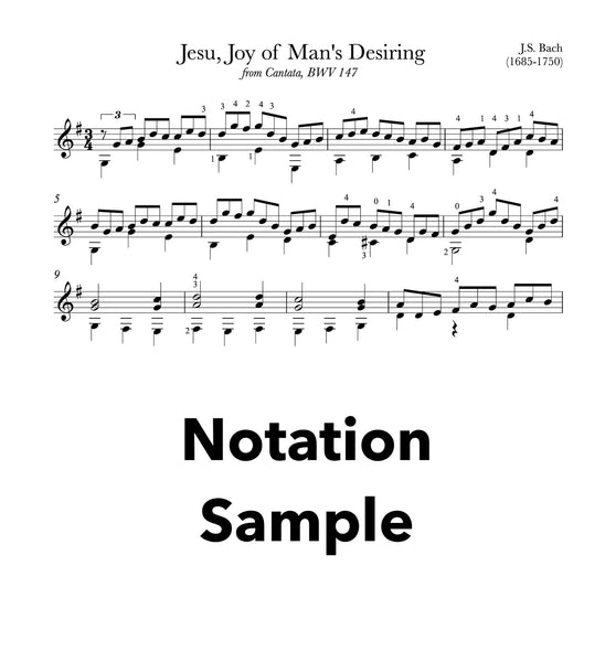 Jesu, Joy of Man's Desiring by Bach for Guitar - Notation Sample