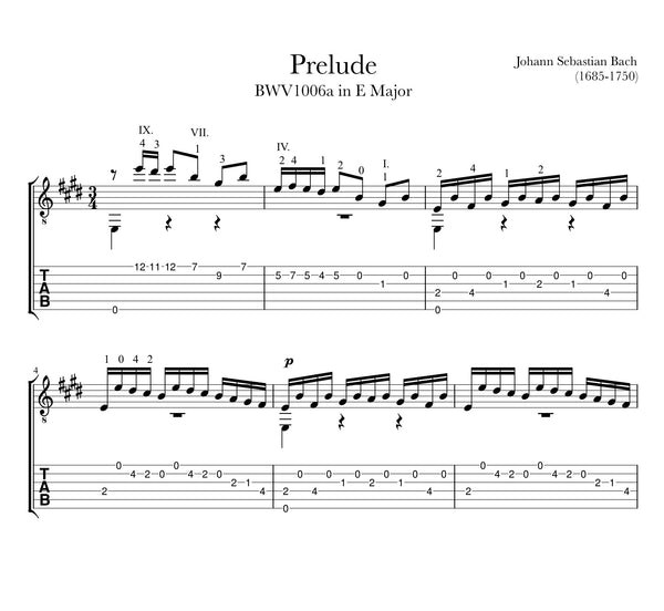 Prelude in E Major, BWV 1006a for Guitar - TAB Sample