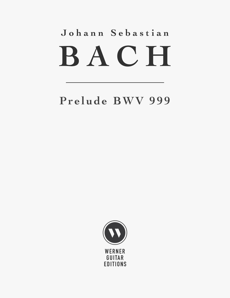 Prelude in D minor BWV 999 for Guitar (PDF Sheet Music or
